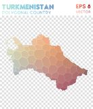 Turkmenistan polygonal map, mosaic style country. Ecstatic low poly style, modern design. Turkmenistan polygonal map for infographics or presentation Royalty Free Stock Image