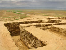 Turkmenistan sightseengs - ULUG Depe andMeana Baba. Ulug-depe city archeological site or iron and bronze age, excavated by french expedition in southeast Karakum Royalty Free Stock Photos