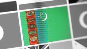 Turkmenistan-Staatsflagge des Landes Turkmenistan-Flagge auf der Anzeige, ein digitaler Wässerungseffekt stockfoto