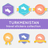 Turkmenistan travel stickers collection. Stock Photo