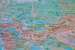 Turkmenistan Uzbekistan, Kirgizistan i slut upp p? ?versikten Fokus p? namnet av landet Vignettingeffekt royaltyfri fotografi