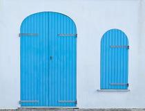 Turkoois deur en venster Royalty-vrije Stock Foto