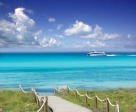Turkoois Formentera van Illetas illetes beachn eiland Stock Afbeeldingen