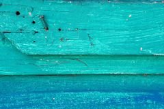 Turkoois geschilderd rustiek hout Stock Fotografie