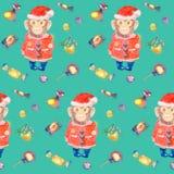 Turkoois patroon met snoepjes en een het glimlachen aap in een Nieuwjarenkostuum Stock Afbeelding