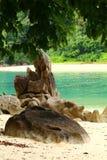 Turkoois water en gouden zand in Thailand Royalty-vrije Stock Foto