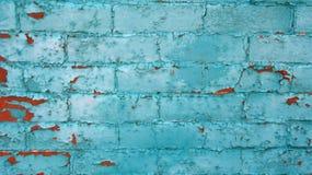 Turkooise bakstenen in muur Stock Fotografie