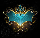 Turkooise banner met Fleur de Lis Royalty-vrije Stock Afbeeldingen