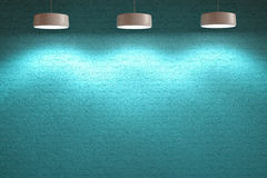 Turkooise blauwe binnenlandse steenmuur met lampen Stock Afbeelding