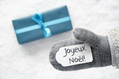 Turkooise Gift, Handschoen, Joyeux Noel Means Merry Christmas stock afbeelding