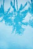 Turkooise pool met bezinning van palm Stock Afbeelding