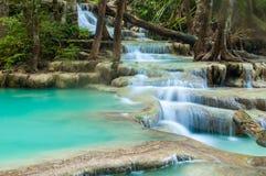 Erawan vattenfall, Kanchanaburi, Thailand Fotografering för Bildbyråer