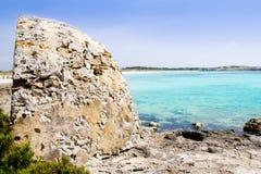 turkos för hav för illetes för strandformentera illetas arkivfoto
