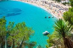 Turkos för strand för Ibiza Cala de Sant Vicent caletade San Vicente royaltyfria bilder