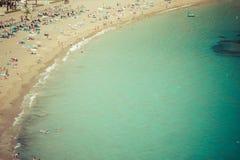 Turkos för strand för Ibiza Cala de Sant Vicent caletade San Vicente royaltyfria foton