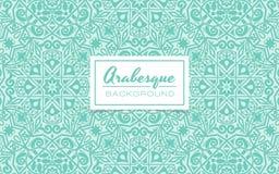 Turkosbakgrundsdesign i arabesquestil Arkivbilder