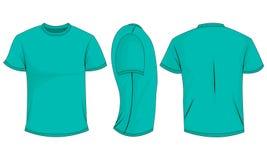 Turkosmäns t-skjorta med korta muffar framdel baksida, sidosikt vektor illustrationer