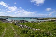 Turkosstrand och grönt fält i Connemara Royaltyfri Bild