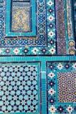 Turkostegelplattadetalj av nekropolen av Shakhi Zinda, Samarkand, Uzbekistan arkivfoto