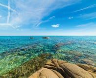 Turkosvatten i den Scoglio di Peppino kusten Fotografering för Bildbyråer