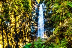 Turkosvattnet av kaskadnedg?ngar i Fraser Valley av British Columbia, Kanada arkivbilder