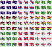 Turks and Caicos, Costa Rica, Mauritania, Western Sahara, Seychelles, Ghana, Brazil, Norway, Guernsey. Big set of 81 flags. Royalty Free Stock Photo