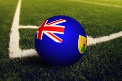 Turks And Caicos Islands ball on corner kick position, soccer field background. National football theme on green grass.  stock illustration