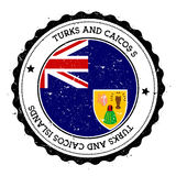 Turks and Caicos Islands flag badge. Vintage travel stamp with circular text, stars and island flag inside it. Vector illustration Stock Photos