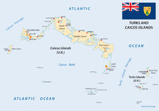 Turks and caicos islands map with flag Stock Photos