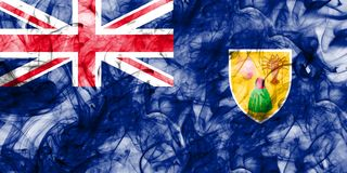 Turks and Caicos Islands smoke flag, British Overseas Territorie. S, Britain dependent territory flag Stock Photography