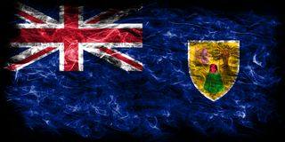 Turks and Caicos Islands smoke flag, British Overseas Territorie. S, Britain dependent territory flag Royalty Free Stock Images