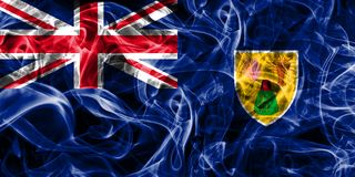 Turks and Caicos Islands smoke flag, British Overseas Territorie. S, Britain dependent territory flag Royalty Free Stock Photography