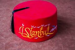 Turks Fez met de doopvont van Istanboel Royalty-vrije Stock Fotografie