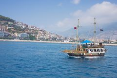 Turks jacht in Alanya stock afbeeldingen