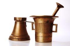 Turks koffiepot en mortier Stock Foto's