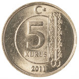 5 Turks kurusmuntstuk Royalty-vrije Stock Foto's