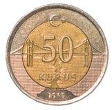 50 Turks kurusmuntstuk Stock Foto