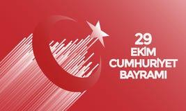 Turks Nationaal Festival 29 Ekim Cumhuriyet Bayrami Vertaling: De gelukkige 29 Dag van de Republiek van Oktober Nationale Dag in  royalty-vrije illustratie