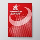 Turks Nationaal Festival 29 Ekim Cumhuriyet Bayrami Vertaling: De gelukkige 29 Dag van de Republiek van Oktober Nationale Dag in  vector illustratie