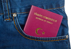 Turks Paspoort in Jean Pocket Stock Fotografie