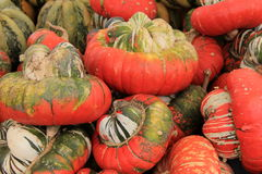 Turks Turban squash on table at outdoor market Royalty Free Stock Image