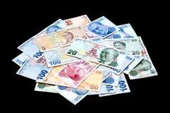 Turkse bankbiljetstapel stock fotografie