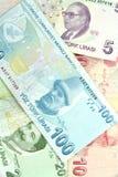 Turkse bankbiljetten. Lire (TL) Royalty-vrije Stock Afbeeldingen