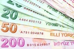 Turkse bankbiljetten Turkse Lire (TL) Royalty-vrije Stock Foto