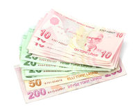 Turkse bankbiljetten Turkse Lire (TL) Stock Afbeeldingen