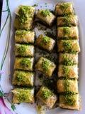 Turkse dessertbaklava royalty-vrije stock afbeeldingen