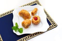 Turkse dessertbaklava, de snoepjes van het Midden-Oosten Stock Foto's