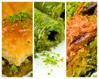 Turkse desserts, baklava, broodje en kadayif royalty-vrije stock afbeeldingen
