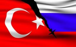 Turkse en Russische Vlaggen stock afbeelding