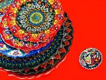 Turkse hand gedrukte plaat Stock Foto